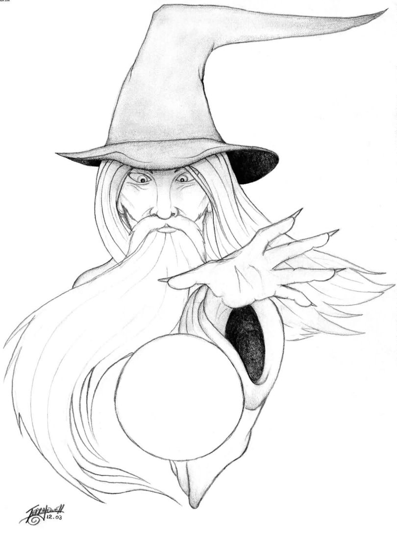 Incredible Wizard With Ball Tattoos Design For Girls