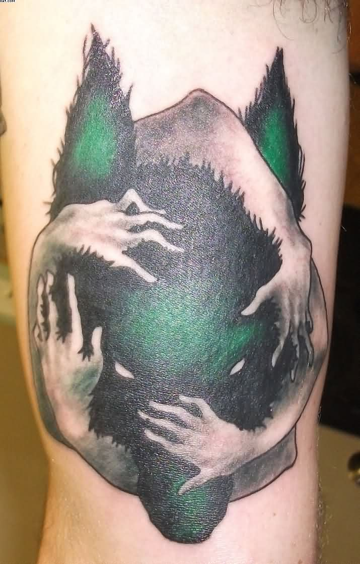 Incredible Wolf Tattoo With Hands For Girls