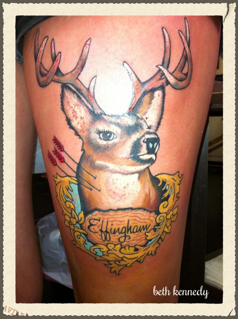 Incredible Yellow Black And Red Color Ink Deer Tattoo Picture For Girls