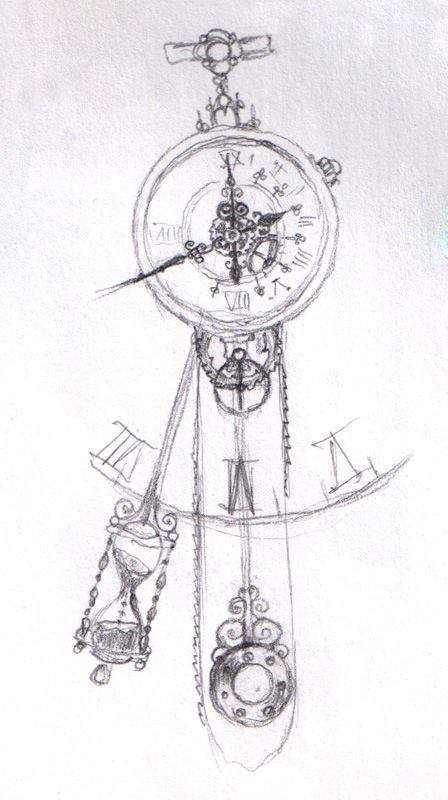 Innovative Black Color Ink Clock Tattoo Sketch For Girls