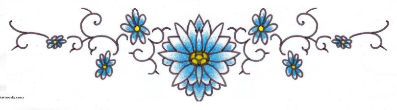 Innovative Blue Yellow And Black Color Ink Lower Back Daisy Tattoo Designs For Girls
