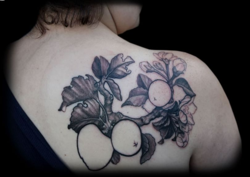 Inspirational Black Color Ink Apple Branch & Blossoms Tattoo On Shoulder For Girls