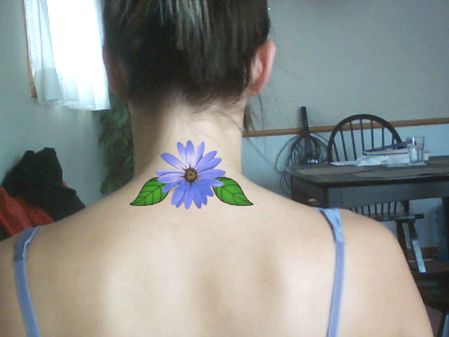 Inspirational Green And Blue Color Ink Daisy Tattoo Design On Neck Back For Girls