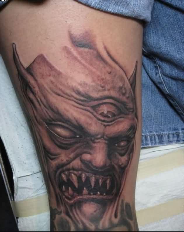 Inspirational Zombie Tattoo On Leg