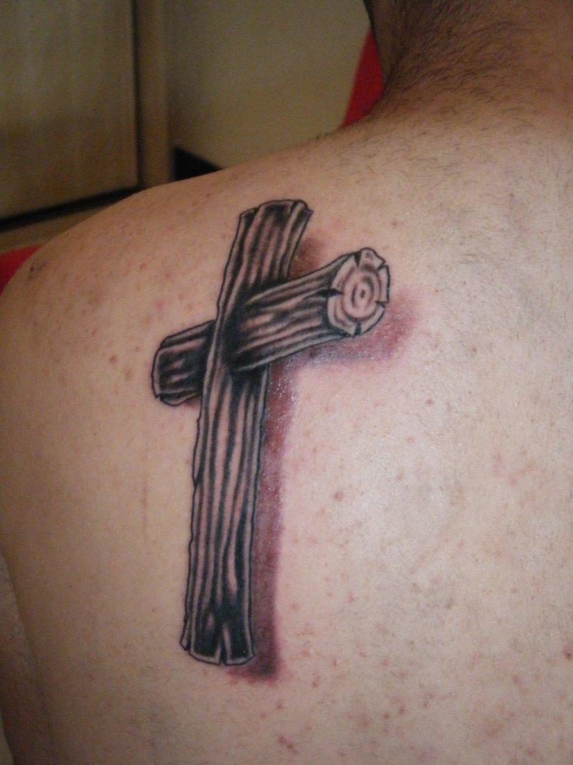 Inspiring Black And Red Color Ink Wooden Cross Tattoo For Men On Shoulder Back For Boys