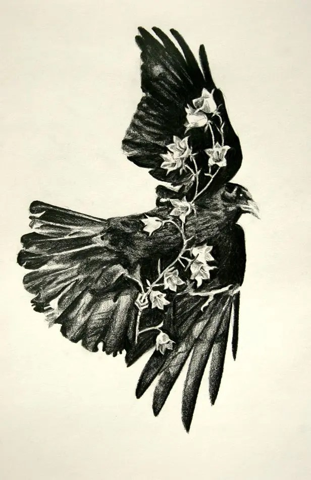 Inspiring Black Color Ink Flying Crow With Flowers Tattoo Print For Boys