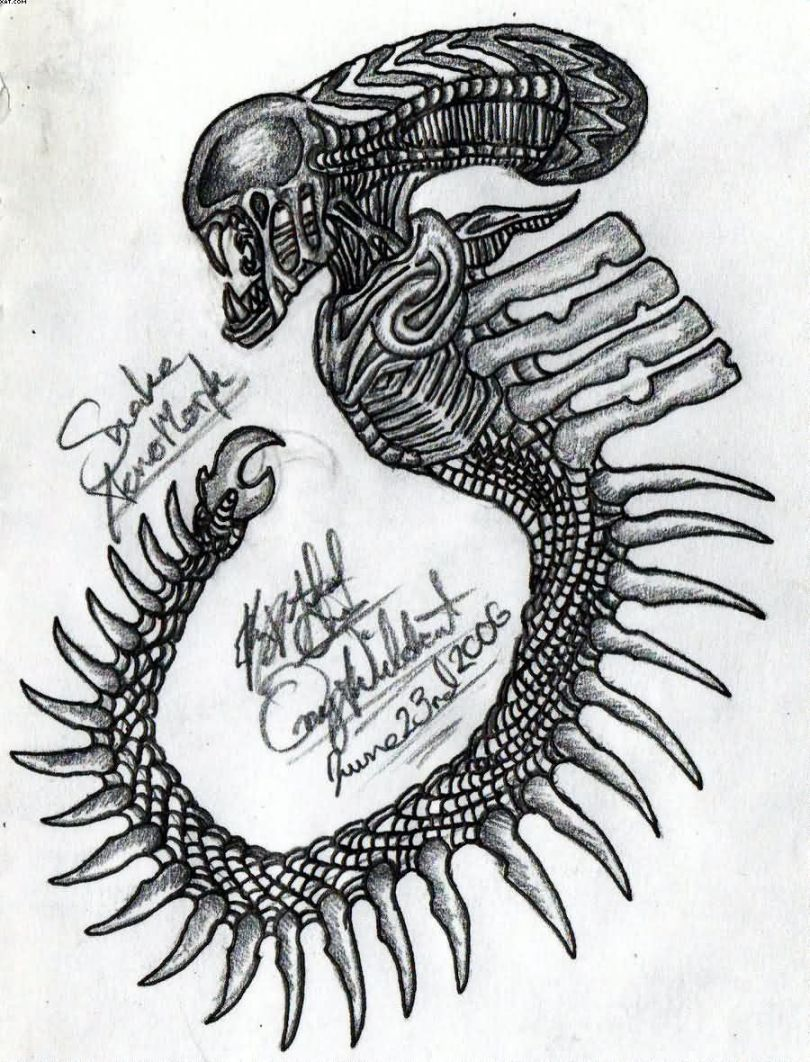 Inspiring Black Color Ink Future Alien Tattoo Design For Boys