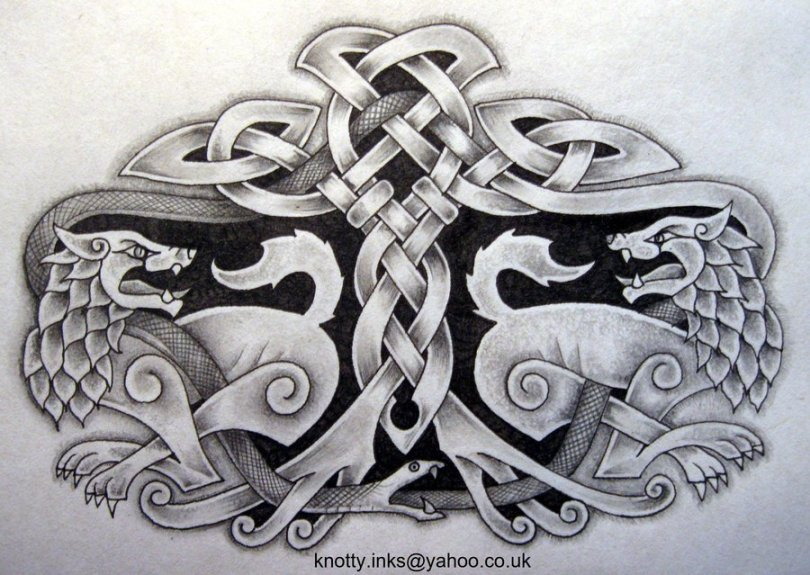 Inspiring Black and White Color Ink Celtic Tattoo Design For Boys
