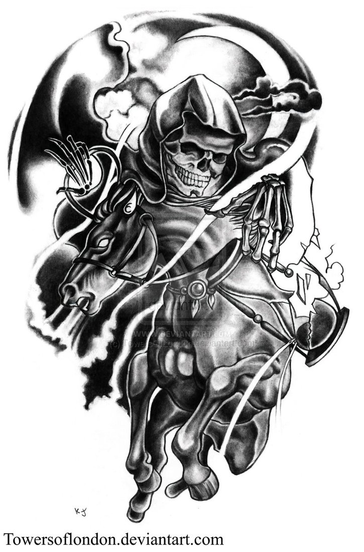 Inspiring Black and White Color Ink Death Horseman Tattoo Design For Girls