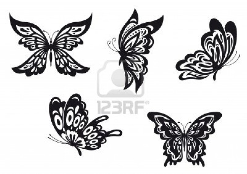 Latest Black And White Color Lots Of Black Butterfly Tattoo Designs For Girls