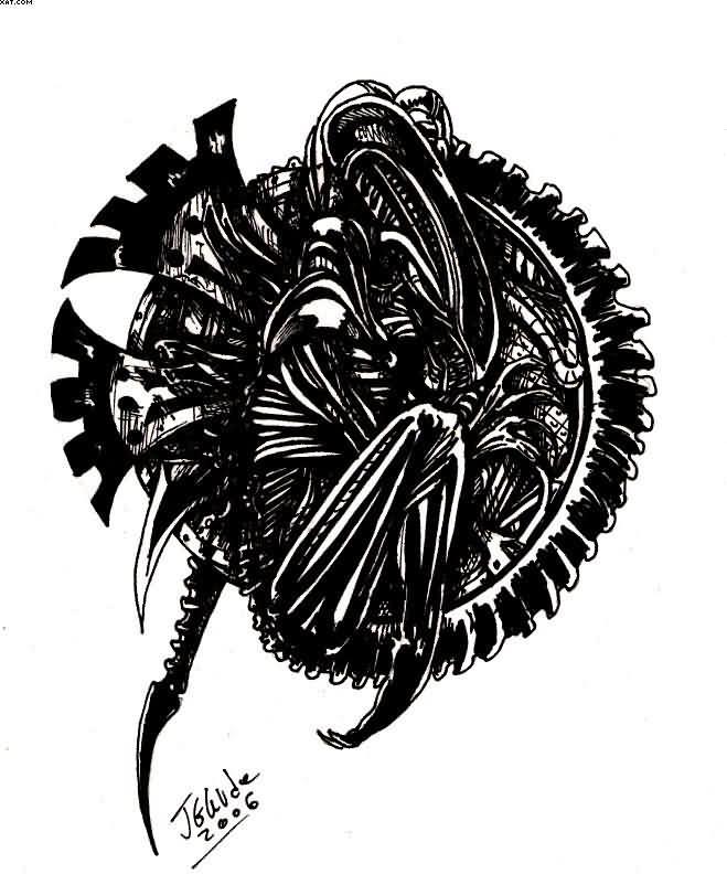 Latest Black Color Ink Alien Tattoo Design For Boys