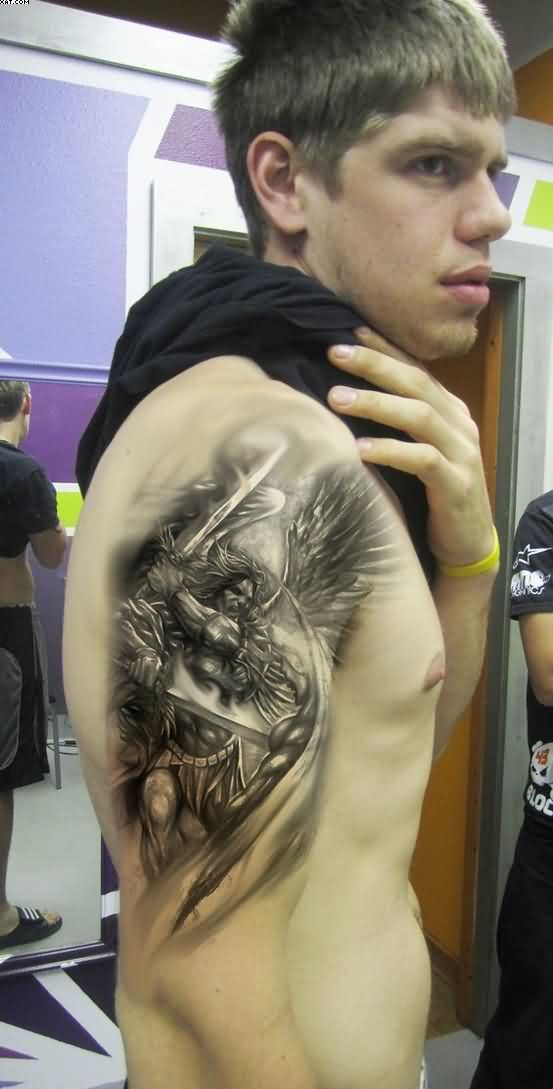 Latest Black Color Ink Angel Warrior Tattoo On Shoulder For Boys