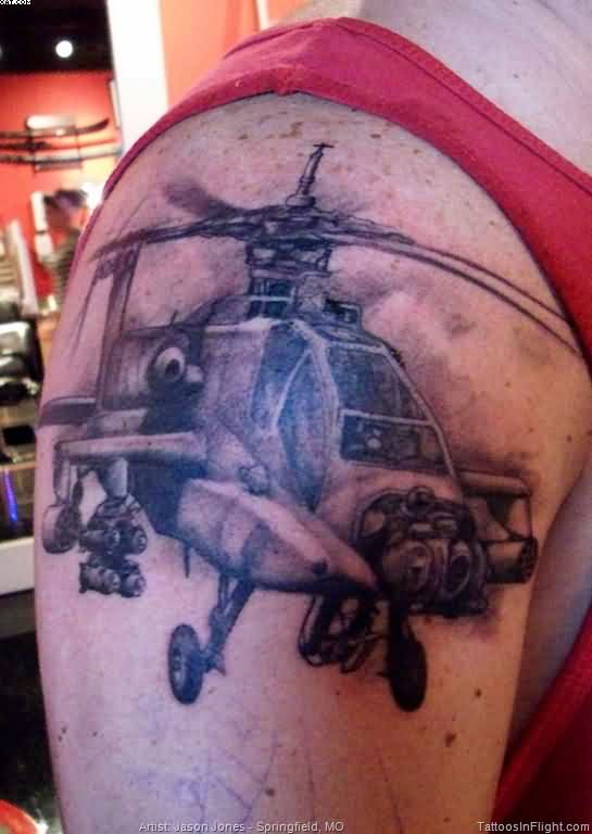 Latest Black Color ink Army Apache Helicopter Tattoo On Shoulder For Boys