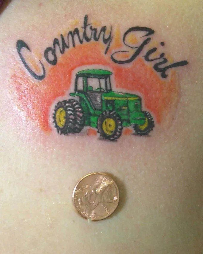 Latest Green Black And Red Color Ink Country Girl Color Tattoo For Boys