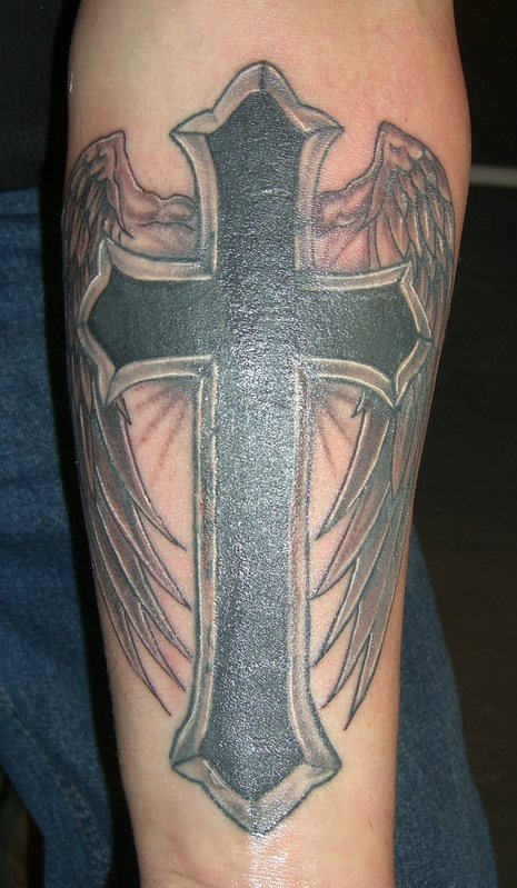 Latest Red And Black Color Ink Winged Cross Tattoo For Boys