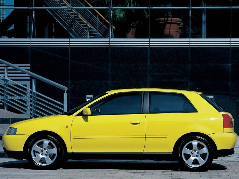 Left side view of amazing yellow Audi A3 car