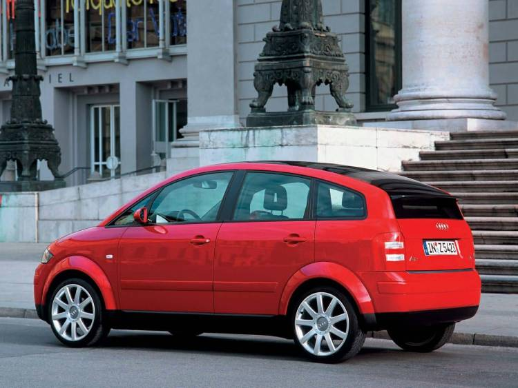 Left side view of beautiful red Audi A2 car