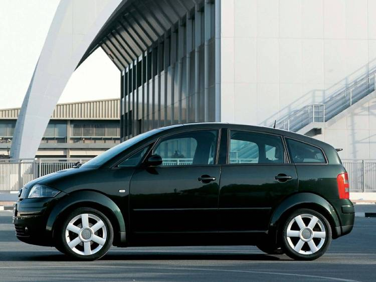 Left side view of black beautiful Audi A2 car