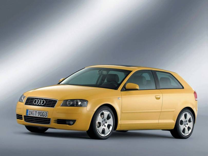 Left side view of yellow beautiful Audi A3 car