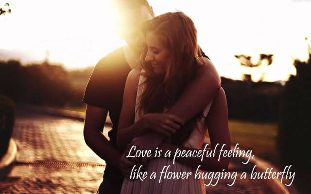 Love Is A Peaceful Feeling Happy Hug Day Wishes Image