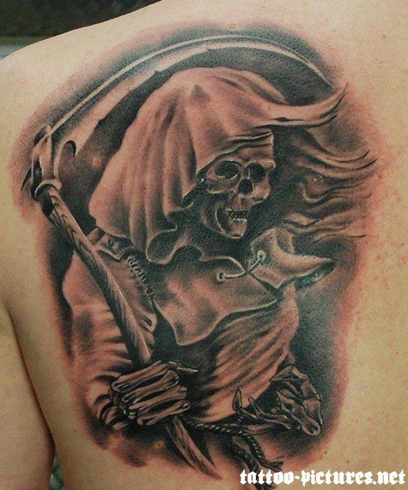 Lovely Black And Red Color Ink Death Grim Reaper Tattoo On Back Shoulder For Boys