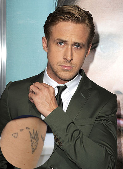 Lovely Black Color Ink Ryan Gosling Wolf Paw Tattoo For Boys