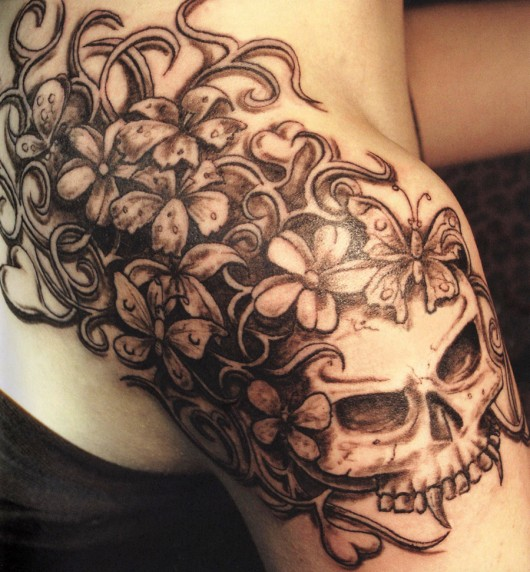 Lovely Brown Color Ink Demon Skull Tattoo On Shoulder For Girls