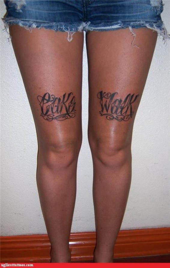 Maori Black Color Ink Cake Walk Tattoo Designs On Thigh For Girls