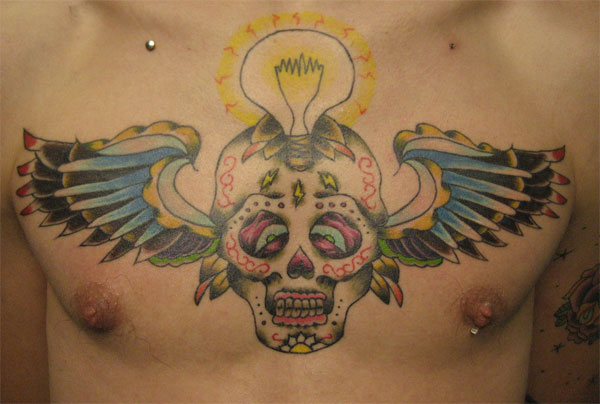 Maori Blue Yellow Black And Red Color Ink Sugar Skull Light Bulb Tattoo On Chest For Boys Copy