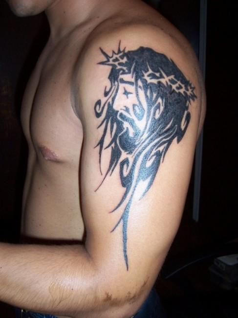 Marvel Black Color Ink Holy Christian Tattoo On Shoulder For Boys