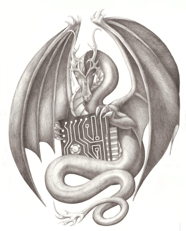Marvelous Black Color Ink Dragon With Chip Plate Tattoo Design For Boys