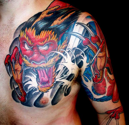 Marvelous Blue Yellow Red And Black Color Ink Chinese Devil Dragon Tattoo On Shoulder For Boys