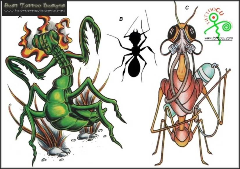 Marvelous Green Black And Red Color Ink Bug Tattoo Design For Boys