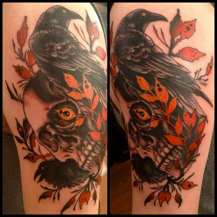 Marvelous REd And Black Color Ink Crow On Skull And Leave Tattoos On Shoulder For Girls