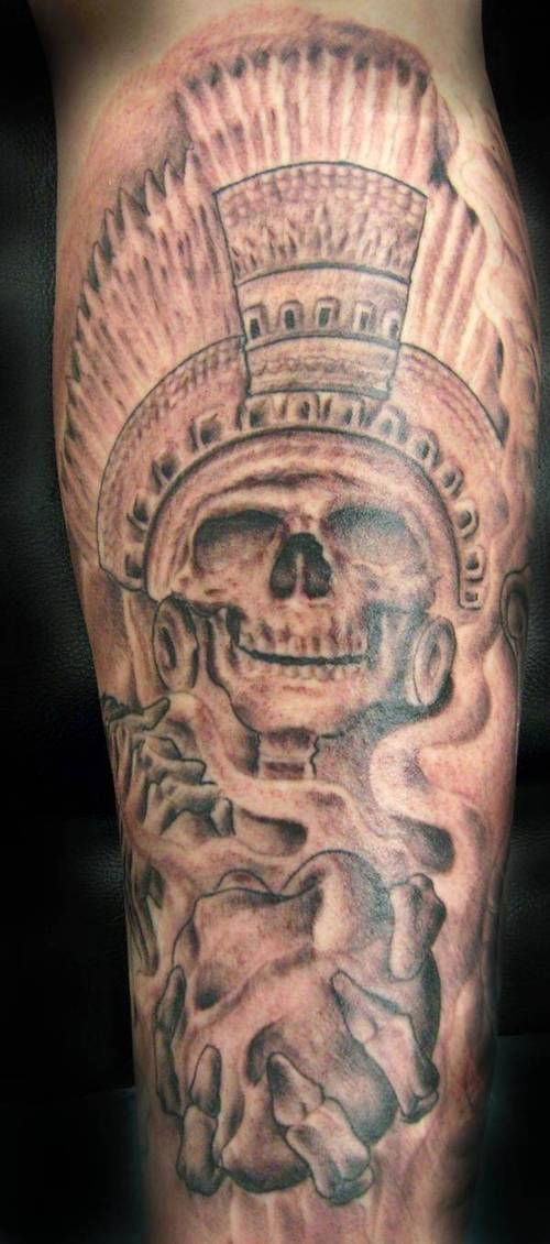 Mind Blowing Black And Red Color Ink Aztec Skull Tattoo Design On Arm For Boys