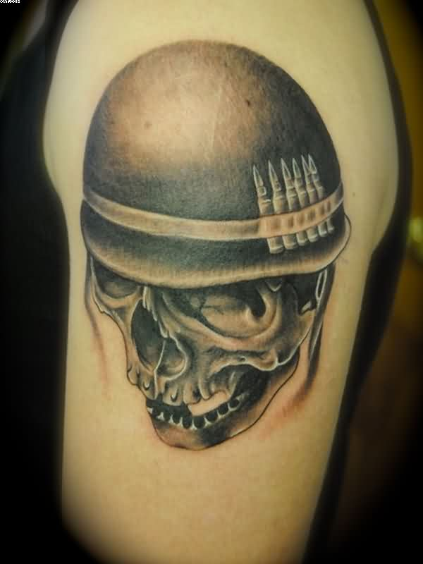 Mind Blowing Black Color Ink Army Skull Tattoo Design On Shoulder For Boys