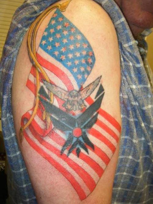 Mind Blowing Blue Yellow Black And Red Color Ink American Flag Tattoo Design For Boys