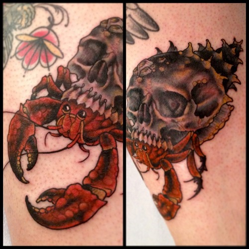 Most Beautiful Black And Red Color Ink Skull Crab Tattoo Design For Girls