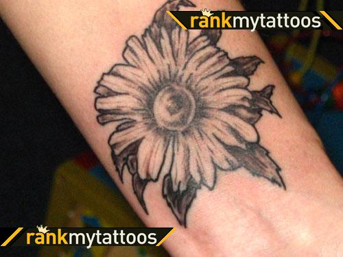 Most Beautiful Black Color Ink Daisy Flower Tattoo For Boys