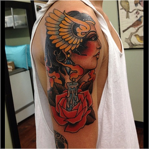 Most Beautiful Black and Red Color Ink Woman Face With Rose Candle Tattoo For Boys On Shoulder