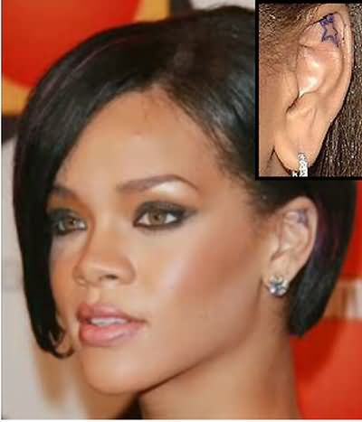Most Beautiful Blue Color Ink Star Tattoo In Celebrity Ear For Girls Tattoo