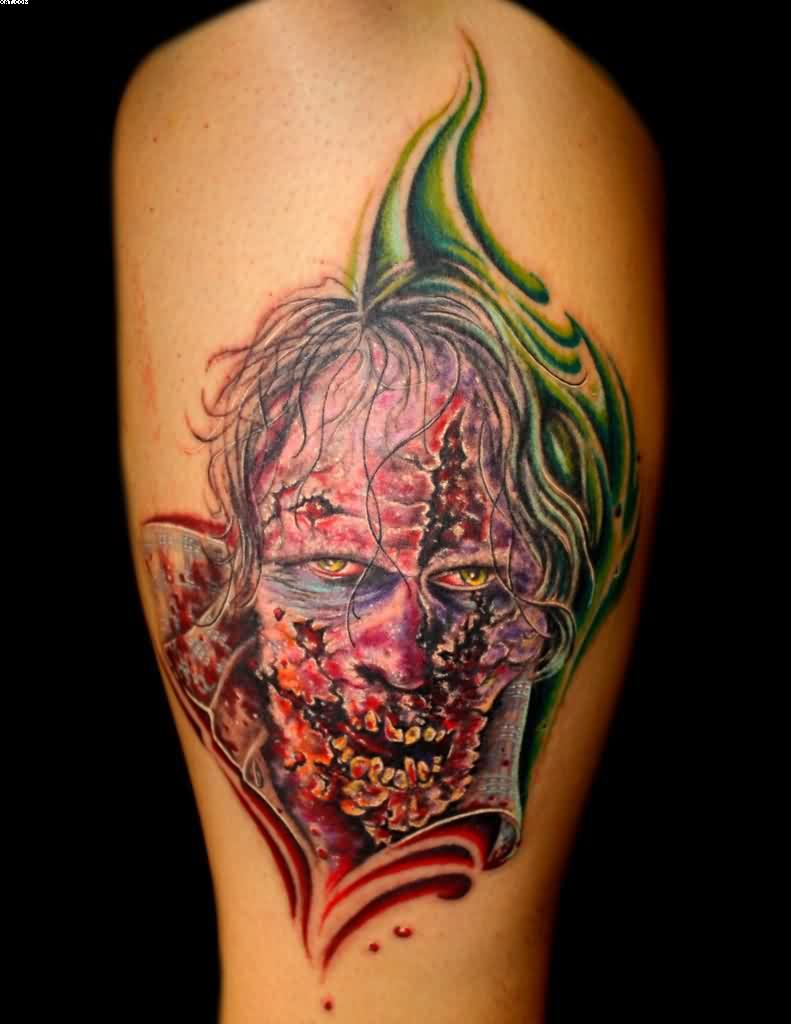 Most Dangerous Zombie Tattoo Picture On Leg With Colorful Ink
