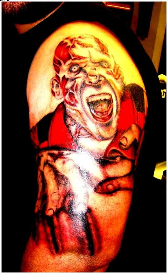 Most Fabulous Zombie Tattoo On Arm With Colorful Ink