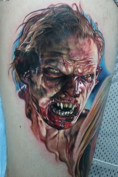 Most Inspirational Annoyed Zombie Man Tattoo On Biceps