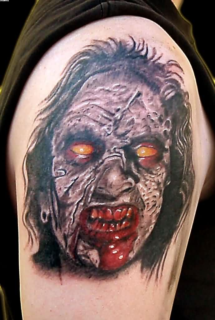 Most Unique Zombie Face Tattoo On Shoulder On Shoulder With Colorful Ink