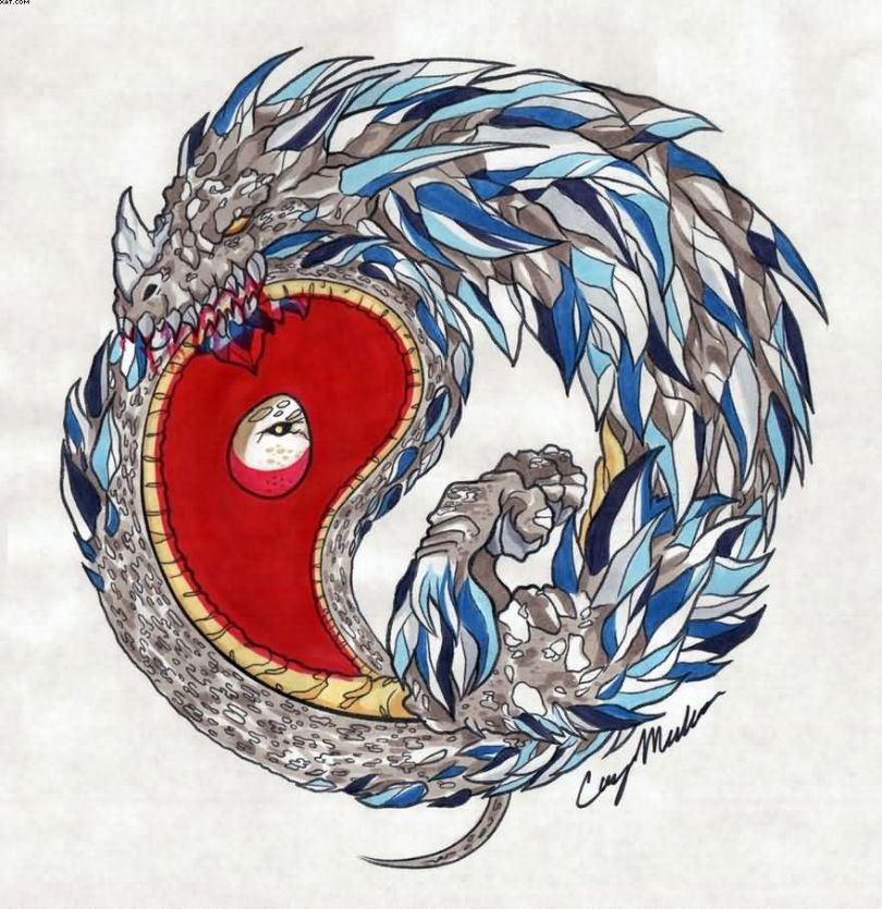 Most Wonderful Yin Yang Ouroboros Colored Tattoo Design Sample