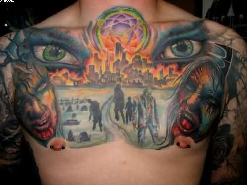 Most unique Zombie Apocalypse Chest Piece Tattoos On Back With Colorful Ink