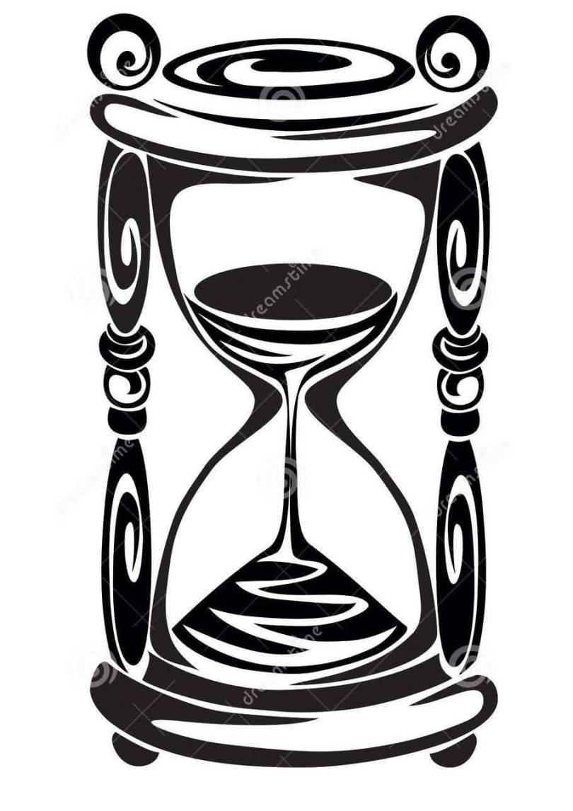 Motivational Black Color Ink Tribal Sand clock Tattoo Model For Boys