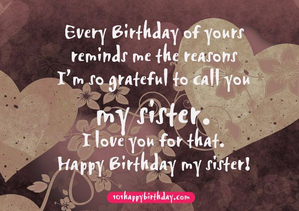 To My Sweet Sister Happy Birthday Card With Quotes Image