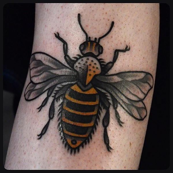 Nice Black And Yellow Color Ink Bumblebee Tattoo Image On Arm For Girls